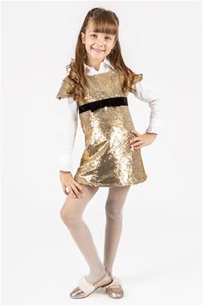 Alouette παιδικό φόρεμα με παγιέτα και βελουτέ ζώνη στη μέση (6-14 ετών)