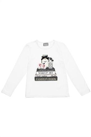 Alouette παιδική μπλούζα με print και βελουτέ φιόγκο (6-16 ετών)