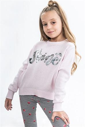 Alouette παιδική πλεκτή μπλούζα με lettering από παγιέτα (6-14 ετών)