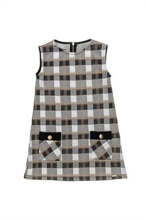 Alouette παιδικό αμάνικο φόρεμα καρό με τσέπες (6-14 ετών)