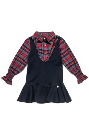 Alouette παιδικό φόρεμα με βολάν και καρό λεπτομέρειες