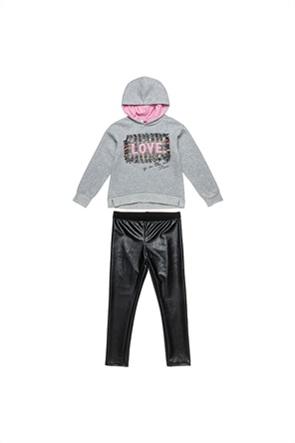 "Alouette παιδικό σετ ρούχων μπλούζα με κέντημα και κολάν faux leather ""Moovers"" (6-16 ετών)"