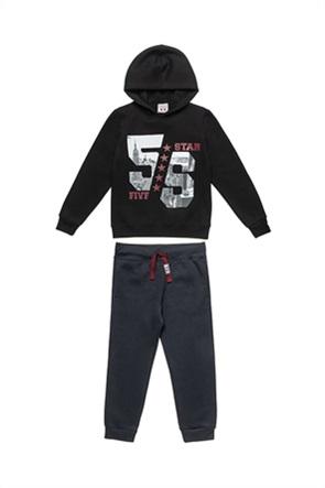 "Alouette παιδικό σετ ρούχων μπλούζα φούτερ με κουκουλα και παντελόνι ""Moovers"" (6-16 ετών)"