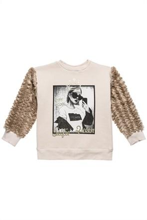 Alouette παιδική μπλούζα με print και γουνινα μανίκια (6-14 ετών)
