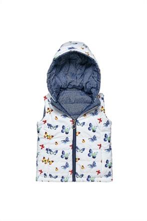 Alouette παιδικό μπουφάν αμάνικο διπλής όψης με butterfly print (12 μηνών-5 ετών)