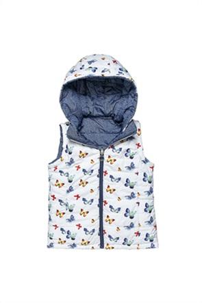 Alouette παιδικό μπουφάν αμάνικο διπλής όψης με butterfly print (6-14ετών)