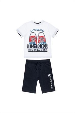 "Alouette παιδικό σετ ρούχων T-shirt με shoes print και βερμούδα ""Five Star"" (12 μηνών-5 ετών)"