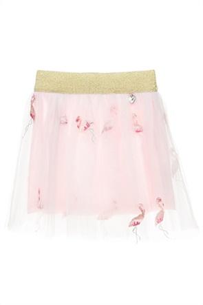 Alouette παιδική φούστα με τούλι και κεντημένα flamingo (18 μηνών-5 ετών)