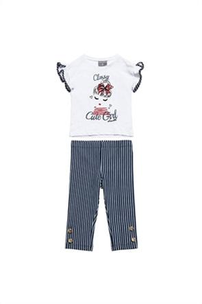 Alouette παιδικό σετ ρούχων T-shirt με graphic print και ριγέ κολάν (12 μηνών-5 ετών)