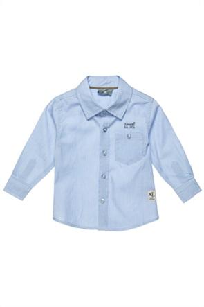 Alouette παιδικό πουκάμισο με ριγέ σχέδιο και logo print (12 μηνών- 5 ετών)