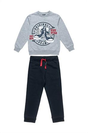 "Alouette παιδικό σετ ρούχων μπλούζα φούτερ με ανάγλυφο print και παντελόνι ""Five Star"" (6-16 ετών)"
