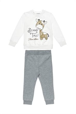 "Alouette παιδικό σετ ρούχων μπλούζα φούτερ με giraffe print και παντελόνι φόρμας ""Five Star"" (18 μηνών-5 ετών)"