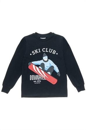 """Αlouette παιδική μπλούζα φούτερ με print """"Ski club"""" (6-16 ετών)"""