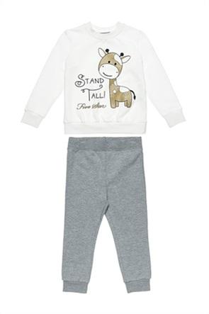 Alouette παιδικό σετ ρούχων μπλούζα φούτερ με giraffe και glitter print και παντελόνι φόρμας (18 μηνών-5 ετών)