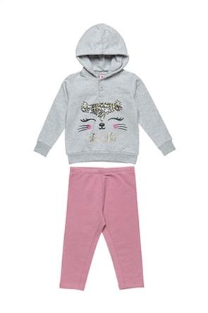 Alouette παιδικό σετ ρούχων μπλούζα φούτερ με cat print και παντελόνι (18 μηνών-5 ετών)