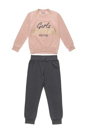 "Alouette παιδικό σετ φόρμας μπλούζα με print ""Girls Power"" και παντελόνι (6-14 ετών)"