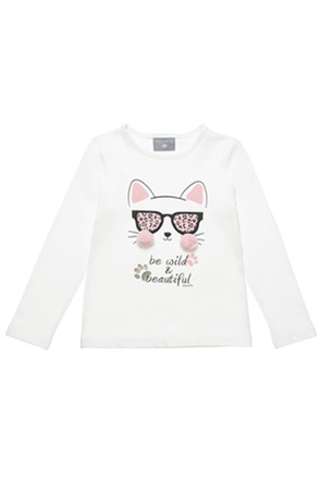 Alouette παιδική μπλούζα με cat print και pom-pon (18 μηνών-5 ετών)