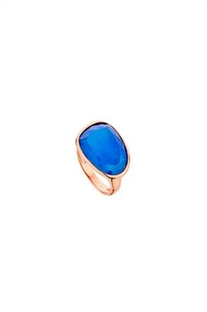 Li - LA - LO γυναικείο δαχτυλίδι με αχάτη από ροζ επιχρυσωμένο ασήμι 925º