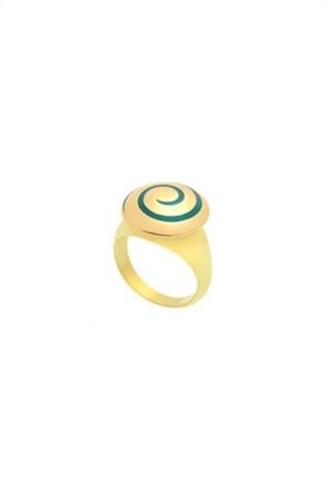 Li - LA - LO γυναικείο δαχτυλίδι Chevalier Collection με πράσινο σμάλτο από επιχρυσωμένο Ασήμι 925º