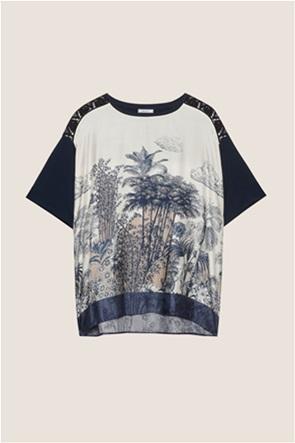 Elena Mirò γυναικεία μπλούζα με print και δαντέλα στους ώμους