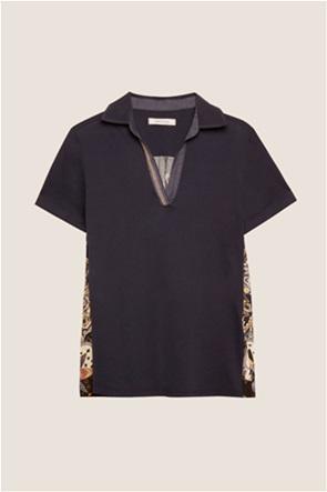 Elena Mirò γυναικεία πόλο μπλούζα με print στην πλάτη