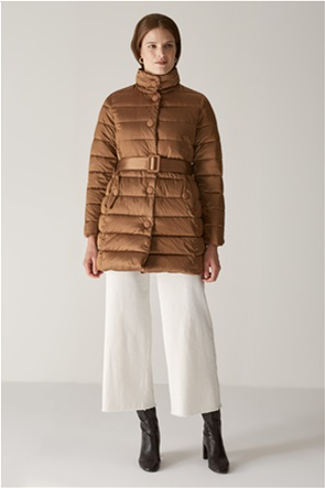 Elena Miro γυναικείο μπουφάν διπλής όψης με ζώνη