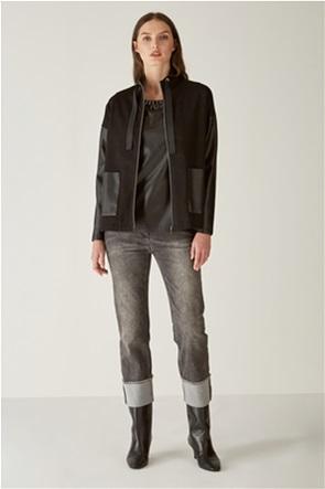 Elena Miro γυναικείο jacket με faux-leather μανίκια
