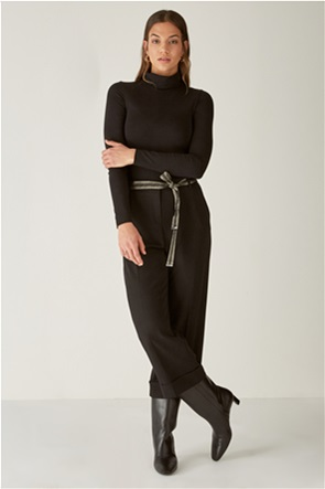 Elena Miro γυναικείo παντελόνι cropped με ζώνη