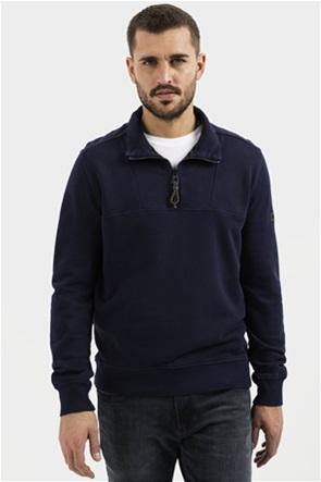 Camel Active ανδρική μπλούζα φούτερ με φερμουάρ 3/4