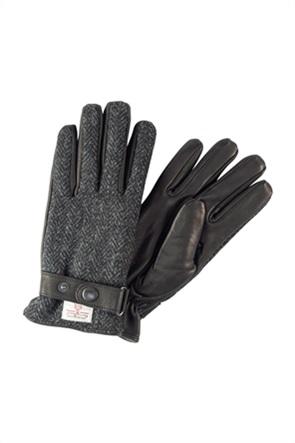 Camel Active ανδρικά γάντια δερμάτινα με herringbone print ''Gift Box''