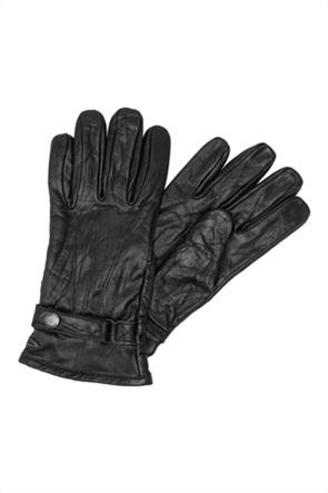 Camel Active ανδρικά γάντια δερμάτινα με μεταλλικό logo
