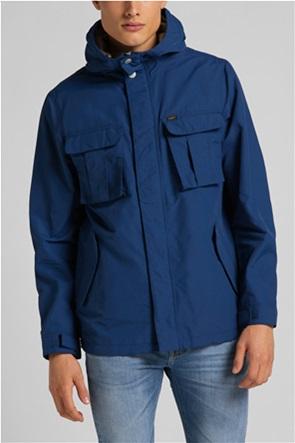 Lee ανδρικό μπουφάν μονόχρωμο με flap τσέπες και κουκούλα