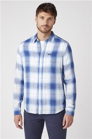 Wrangler ανδρικό πουκάμισο με καρό σχέδιο και απλικέ τσέπη