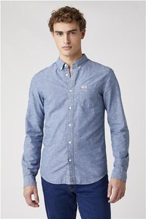 Wrangler ανδρικό πουκάμισο μονόχρωμο με απλικέ τσέπη Slim Fit