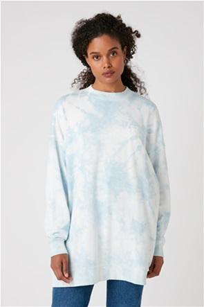 Wrangler γυναικεία μπλούζα φούτερ oversized με logo stamp και dye print