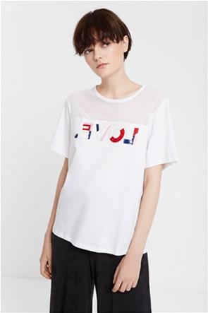 "Desigual γυναικείο T-shirt με letter patch ""Mesh Love"""