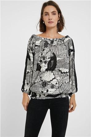 Desigual γυναικεία μπλούζα με δαντέλα στα μανίκια ''Melina''