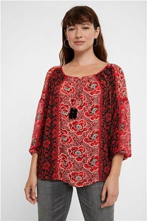 Desigual γυναικεία μπλούζα με floral print και διακοσμητικά pom-pon ''Georgina''