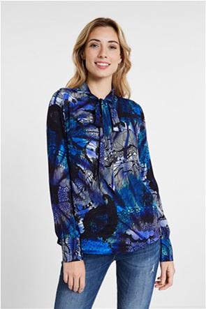 Desigual γυναικεία μπλούζα με print και φιόγκο στη λαιμόκομψη ''Nora''