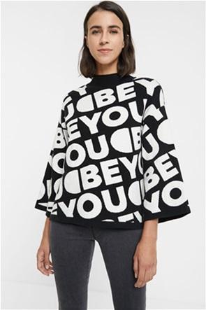 "Desigual γυναικείο πουλόβερ με  letterin all-over ""Toronto"""