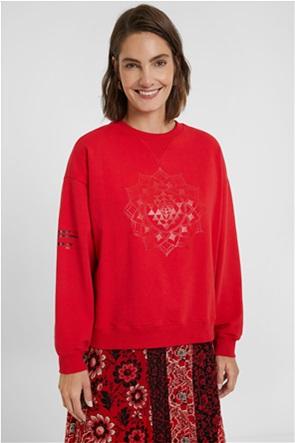 Desigual  γυναικεία oversized φούτερ μπλούζα με print ''Μandala''