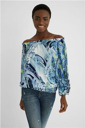 Desigual  γυναικεία μπλούζα με all-over paisley print και κάρμεν λαιμόκοψη ''Sheila''