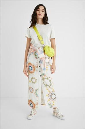 Desigual  γυναικεία maxi φούστα με all-over print και μεταλλικά κουμπιά ''Sunny Day''