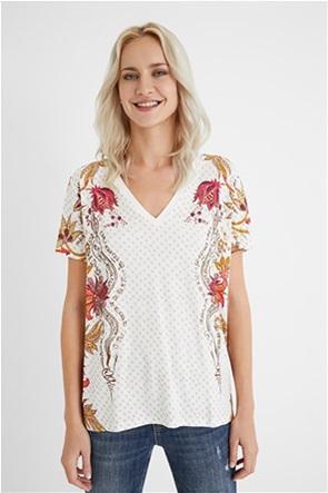 Desigual γυναικεία μπλούζα με V λαιμόκοψη και print ''Praga''
