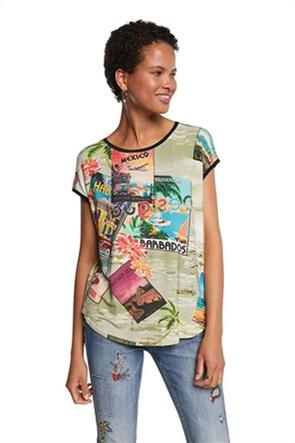 Desigual  γυναικείο T-Shirt με all-over postcard print και κεντημένο λογότυπο ''Colombia''