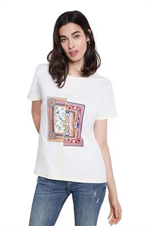 Desigual γυναικείο Τ-Shirt με paisley print και διακοσμητικές ραφές ''Verona''