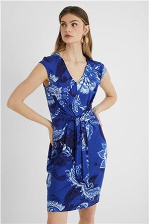 Desigual  γυναικείο mini φόρεμα με all-over print και δέσιμο στη μέση ''Sibila''