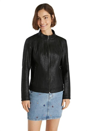 "Desigual γυναικείο jacket faux leather με ψηλό λαιμό ""Comaruga"""