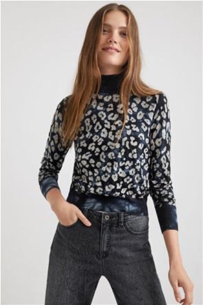 "Desigual γυναικεία πλεκτή μπλούζα με all-over animal print ""Darrell"""