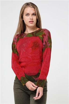 "Desigual γυναικεία πλεκτή μπλούζα με flower print ""Granada"""